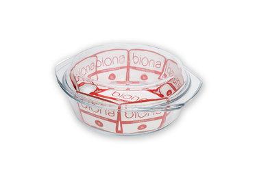 Assadeira redonda para pães feita em vidro borossilicato com tampa